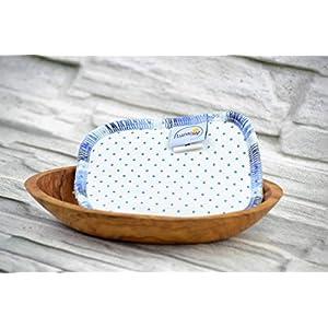 Spülschwamm aus Bio-Baumwolle, 2 Stück, Spüllappen Wischtuch reinigen, umweltfreundlich, ökologisch, spülen, abwaschen, Haushalt, Spültuch, runde Ecken, Punkte blau, ca. 9 x 13 cm