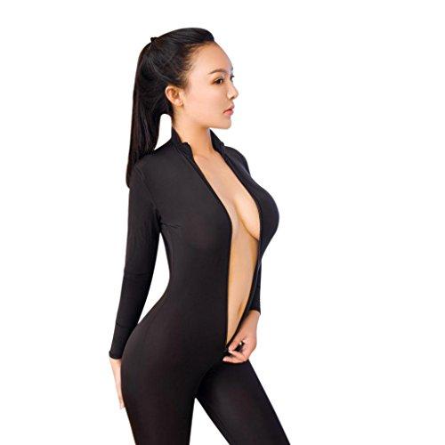 Ba Zha Hei Frauen Striped Bodysuit Reißverschluss Langarm Open Crotch Lingerie Overall Reißverschluss öffnen Schritt High Bodysuit Hosen Körper Anzug Strumpf Bodysuit Dessous (freie Größe, Schwarz) (Spitze Nylon Bodysuit)