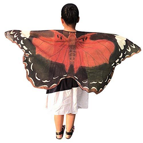 Marlene Kinder Butterfly Print Wings Schal Schal Poncho Kostüm Schmetterlings Umhang Tanzen/Party (Kaffee, Mehrfarbig, ()