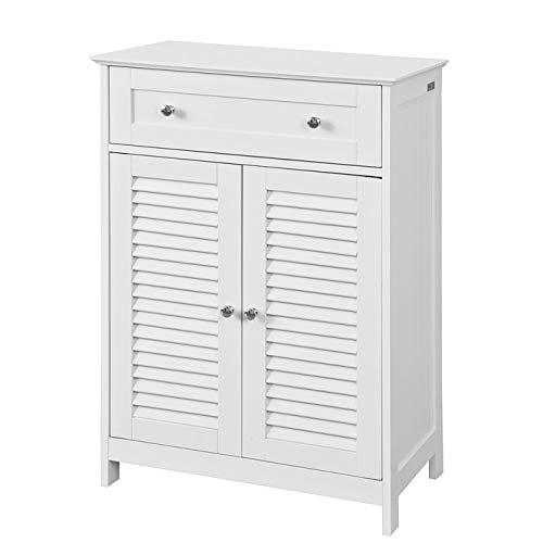 SoBuy FRG238-W Badkommode mit Einer Schublade und Türen, Kommode Badschrank Sideboard Flurschrank, weiß BHT ca: 60x87x35cm