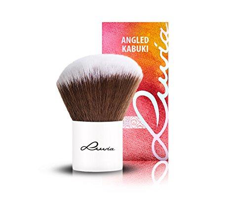 Luvia Cosmetics – Le Jour – II - Angled Hair Kabuki – Make Up Kosmetikpinsel Kabuki im elegantem Weiss - Liebevoll und Traditionell Handgefertigt - Vegan