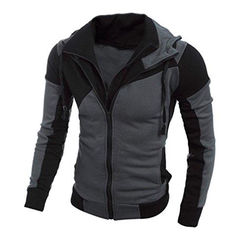Männer Kapuzen Sweatshirt, Zolimx Retro Lange Hülsen Hoodie Jacken Mantel Outwear (XL, Schwarz)