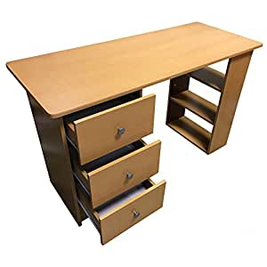 Redstone Beech Computer Desk - 3 Drawers + 3 Shelves - Home Office Table Workstation