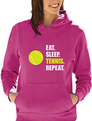 joueur de Tennis EAT SLEEP TENNIS Sweatshirt Capuche Femme Fuchsia