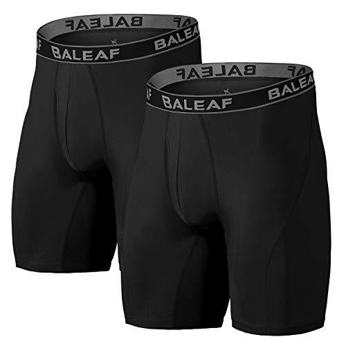 418Z%2BP9WJCL. SS500  - Baleaf 9 Inches Men's Active Underwear Sports Cool Dry Performance Boxer Briefs with Fly Pack of 2