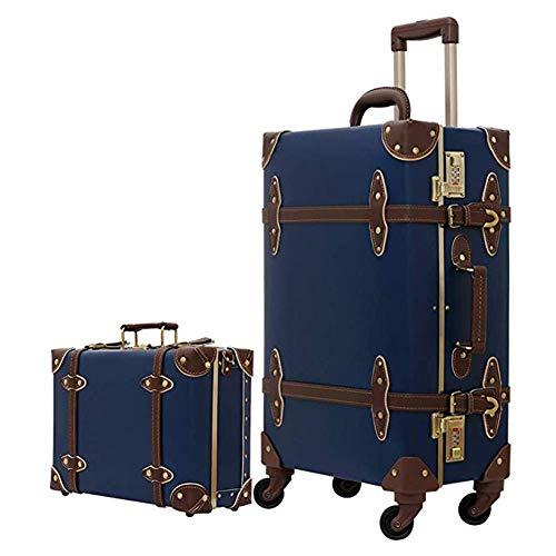 XDD Vintage Reisegepäck-Sets Trolley-Koffer Set Verschleißfeste leichte Koffer Retro-Stil für Frauen und Männer (20'- 26' & 12') Geeignet für die...