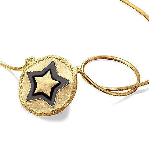 Moda Mentals 925Sterling Silber 24K vergoldet Solid Star Anhänger Halskette