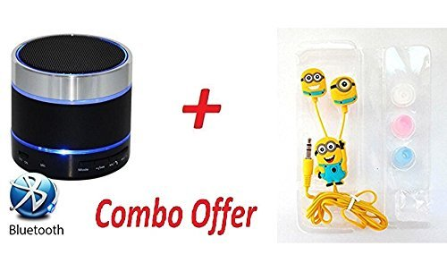 Xiaomi Redmi Note 4 Compatible Wireless Bluetooth S10 Speaker With Minion Earphone Free Combo Offer For Limited Time Best Deal By jyoti