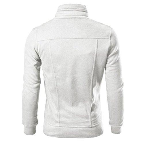 Giacca da uomo Koly Giacca di cuoio del cardigan del rivestimento progettato sottile di Mens di modo White