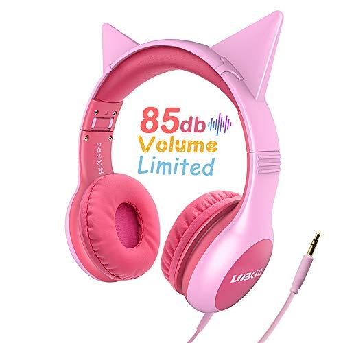 LOBKIN - Auriculares infantiles con orejas de gato, parpadeantes, luz LED, para niñas, niños, compatibles con teléfonos… 3