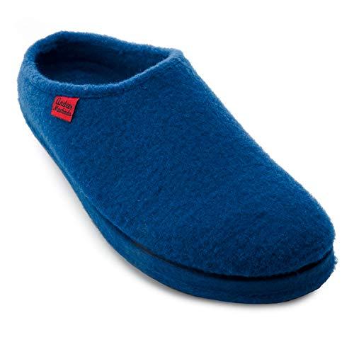 Andres Machado Comodissime Pantofole in Feltro Alpino Blu.44