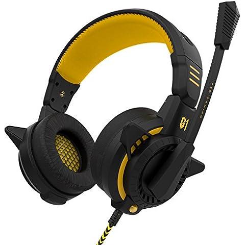 Cuffie per il gioco, Sound Intone G1 2016 Nuovo Design elegante per PlayStation 4 telefoni cellulari PS4 iPhone Tablet PC con 3.5mm microfono (Giallo)