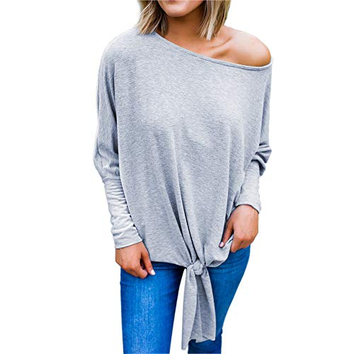 WWricotta Women Long Sleeve Loose Off Cold Shoulder Lace-up Blouse Top Bottom Shirt