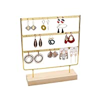 Ruitx Earring Hanger Jewelry Display Stand Golden Earring Organizer 3-Tier 69 Holes Earrings Holder Simple Wood Base Hanging Earrings Stand Jewelry Tower Hanger for Women Girl Store Display