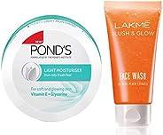 POND'S Light Moisturiser, 250ml & Lakmé Blush and Glow Peach Gel Face Wash, 100g