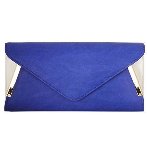 bmc-womens-sapphire-blue-pu-faux-leather-envelope-flap-alloy-metal-two-tone-white-accented-fashion-c