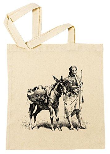 Erido Esel mit Frau Illustration Einkaufstasche Wiederverwendbar Strand Baumwoll Shopping Bag Beach Reusable
