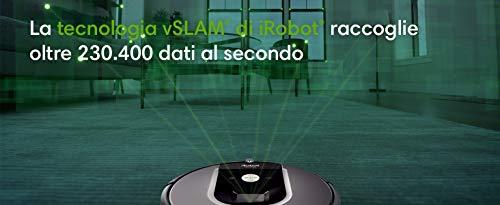 iRobot Roomba 981 Robot aspirapolvere WiFi, Power-Lifting, 2 spazzole in gomma multi-superficie, Adatto per peli, Tecnologia Dirt Detect, pulizia a 3 fasi, programmabile con app, Compatibile Alexa