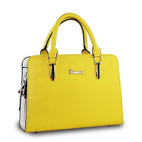 HQYSS Borse donna Coreana PU pelle OL pendolari tinta unita donna tracolla Messenger Handbag , golden yellow golden yellow