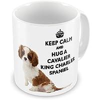 Keep Calm and Hug a Cavalier King Charles spaniel tazza
