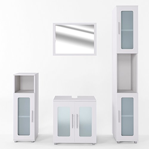 VICCO Badmöbel Set RAYK Weiß Grau Beton - Spiegel + Waschbeckenunterschrank + Hochschrank + Midischrank (Weiß, Set 4)
