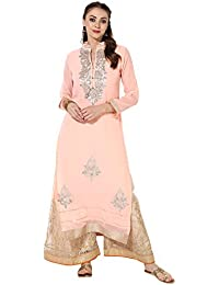 Zoeyams Women's Light Pink Georgette Embroidery Long Straight Kurti