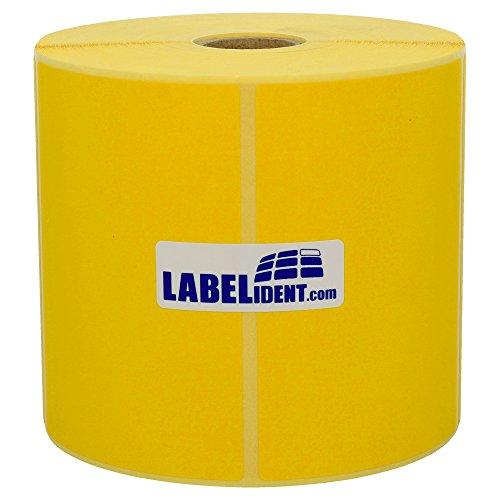 Labelident permanent haftende Thermo Etiketten - 100 x 150 mm - unbeschichtetes Papier, gelb matt, Trägerperforation, 300 Thermodirekt-Etiketten auf Rolle mit 25 mm (1 Zoll) Kern