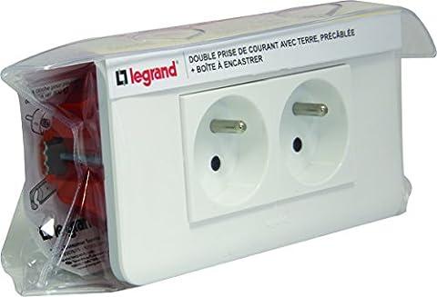 Legrand LEG200020 Kit essentiel mosaïque 2 prises de courant + support + Boîte d'encastrement