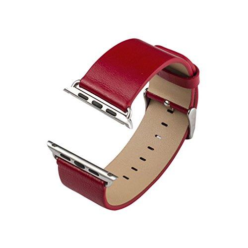 Bracelet Apple Watch 38mm, Apple Watch Serie 3 Band Rosa Schleife®Bracelet iWatch 38mm Montre Apple Watch Cuir Rouge Series 2 Series 1 Femme Remplacement de Bracelet avec Metal Fermoir acier inoxydable Leather Strap pour Tracker d'activité Apple Watch modèle 38mm