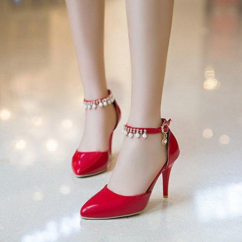 MissSaSa Donna Scarpe col Tacco Alto Elegante e Sexy Rosso
