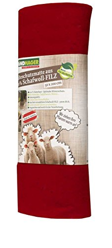 Windhager feutre Tapis en laine de mouton 2 x 0,5 m rouge