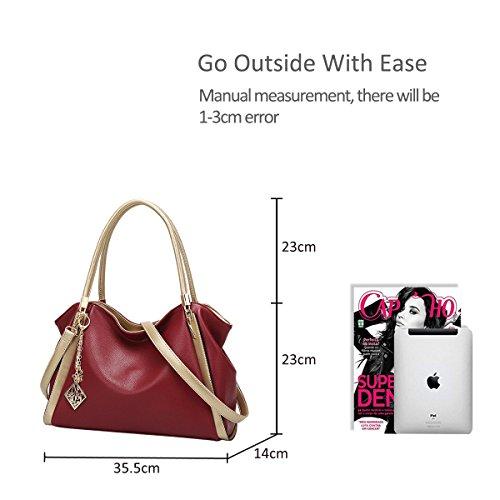 NICOLE&DORIS Elegant Stilvoll Damen Handtaschen Tote Umhängetasche Crossbody Bag Schultertaschen Henkeltaschen Groß Tasche PU Grau Rot