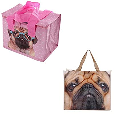 Gossip Girl - Lovely Foil Insulated Lunch Bag - Retro / Flowers / Butterfly / Boat / Pink Pug + Reusable Shopper (Pink