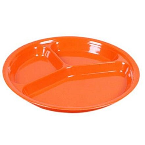 babies-three-grid-divided-plate-utensils-baby-dinner-feeding-bright-assorted-colours-orange