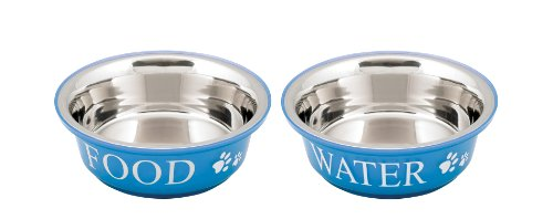 buddys-line-non-skid-stainless-steel-fusion-food-water-serving-pet-bowl-blue-white-1-pint