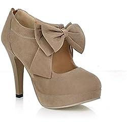 Très Chic Mailanda Damenschuhe Vintage Bogen Pumps High Heels Schuhe Stiefel Stilettosabsatz Winterstiefel Stiefeletten Brautschuhe (35, Schwarz)