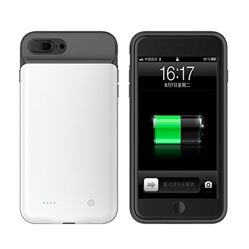 iPhone 8 Plus Batterie Hülle, Forhouse 4000mAh Externe Batterie Akku Handy SchutzHülle [Anti-Rutsch] [Stoßfest] Wiederaufladbare Ladegerät Hülle Aufladbar Powerbank Batterie Akku Case für iPhone 7 Plu Weiß