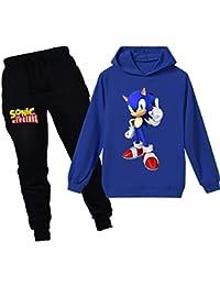 Silver Basic Niños Sudadera con Capucha y Pantalones Traje Sonic The Hedgehog Sudadera con Capucha para Niños Juego Disfraz De Sonic Personajes de la Película