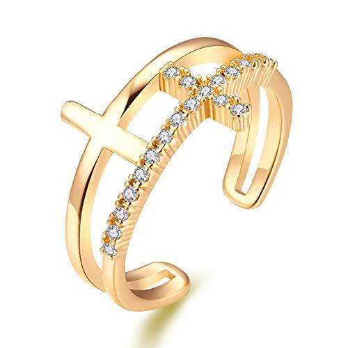 Topsaire Offener Ring Damen Gold Sizer Halter Schmuck für Frau Set Geschenk Klassische kreuz Ringe für Womens Party Zubehör -