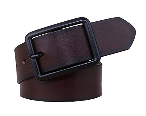 Capplue Men's Classical Leather Belt Pin Buckle Belts for Men Coffee Color 36inch