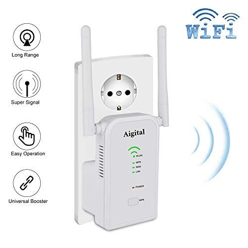 Repetidor WiFi 300Mbps Extensor de Red WiFi Amplificador Enrutador Inalámbrico 2.4G, Puerto LAN/WAN Ethernet, Modo Ap y Extensor y Router, 802.11n/b/g, 2 Antenas