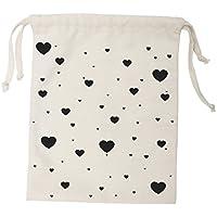 Preisvergleich für Tellkiddo Stoff Tasche Aufbewahrung Herz klein, Baumwolle, Schwarz/Weiß, 1x 23x 27cm
