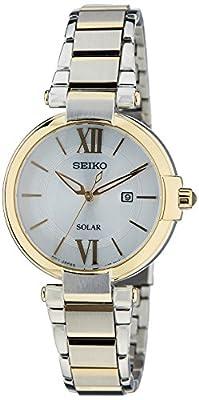 Seiko Solar - Reloj de cuarzo para mujer, correa de acero inoxidable chapado multicolor