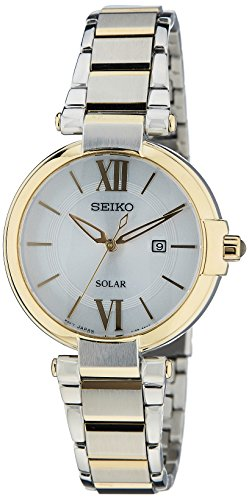 Seiko Women's Quartz Watch with Silver Dial Analogue Display and Gold Stainless Steel Plated SUT154P1