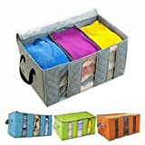 Dtes Bamboo Charcoal Practical Foldable Clothing Storage Bag Box Clothes Closet Organizer