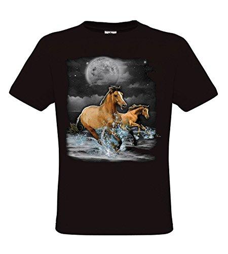 Ethno Designs Horse Wilderness - Cheval T-Shirt pour Enfants et Adultes regular fit Noir