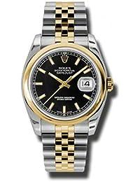 Rolex Automatisch Edelstahl Datejust Gelb Schwarz Stahl Herren 18kt Gold und