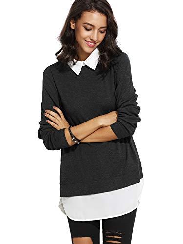 DIDK Damen 2-in-1 Pullover Langarmshirt Langarm Bluse Kontrastfarbe Herbst Winter Pulli Schwarz M