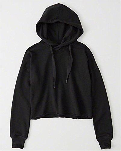 szivyshi Moda Hooded Cappuccio Hood Loose Fit con Coulisse a Maniche Lunghe Sweatshirt Felpa T-Shirt Maglietta Tee Top Nero Nero