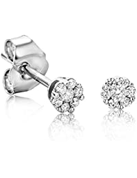 Orovi Woman Studs Earrings 9 ct / 375 White Gold and Cubic Zirconia Brilliant Cut